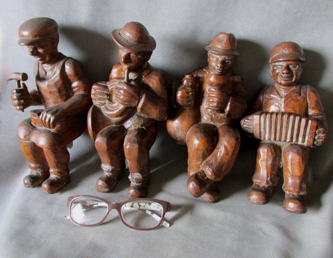 German Black Forest Carved Men, Chandelier, Shelf