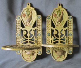 Pr C1882 Victorian Aesthetic Cast Iron Shelves W/bird