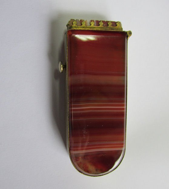 Antique Banded Agate Match Safe Vesta