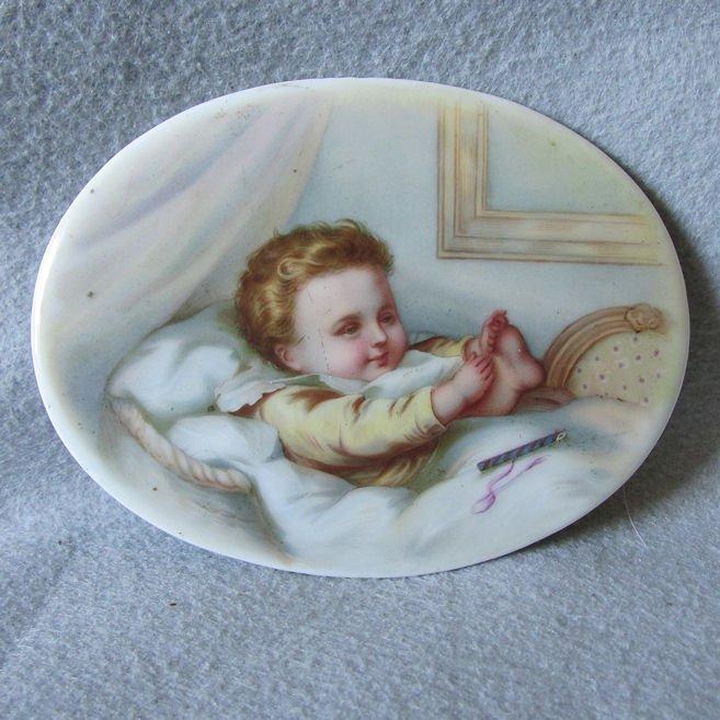 Antique Miniature Porcelain Plaque of a Baby
