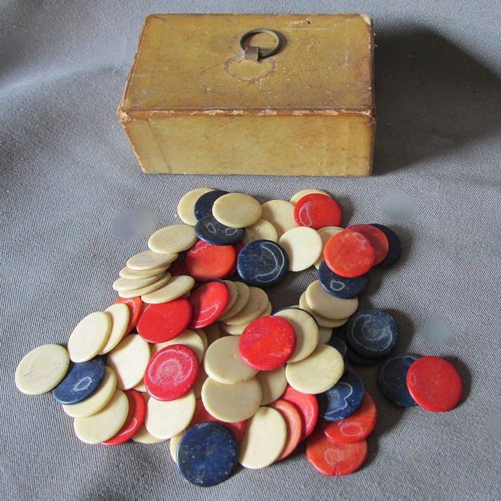 Antique Dyed Bone Gambling, Game, Poker Chips