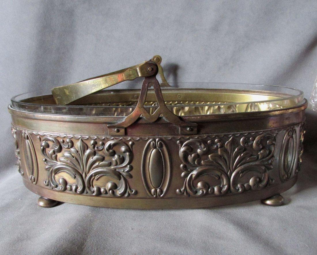Antique Brass Centerpiece or Bride's Basket with Glass