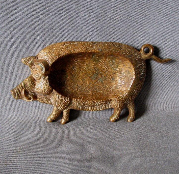 Antique Bronze Figural Boar Pig Desk Top Tray