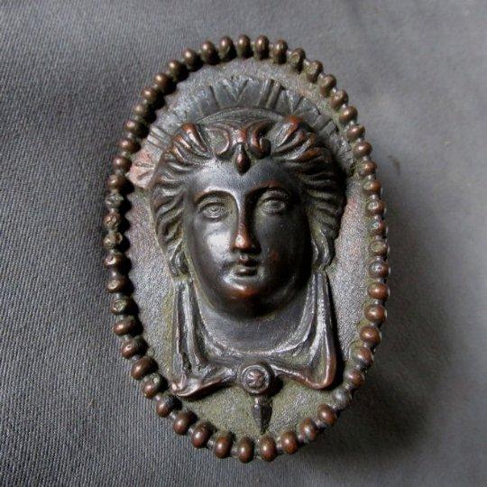 Antique Bronze Architectural Element, Ladies Face