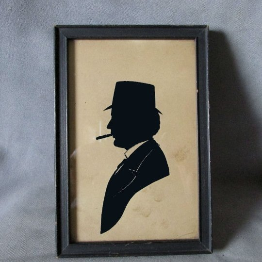 Antique Silhouette Gentleman with Cigar, ID Harry Wood
