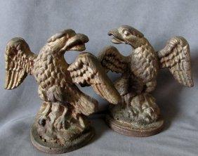 19thc Patriotic Bald Eagle Bookends, Cast Iron