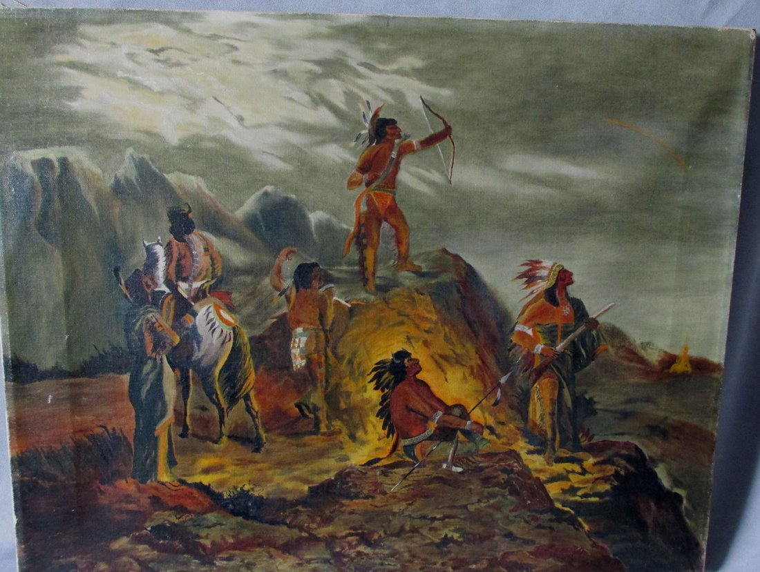 Antique Folk Art Oil Painting, Native American Indians