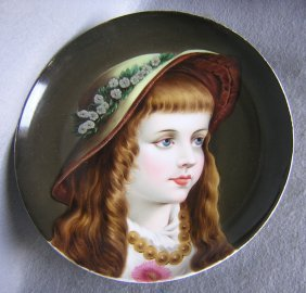 19thc Hand Painted Plaque Charger Of Girl