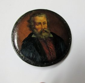 C1840s Paper Mache Snuff Box W/portrait, Maybe Victor