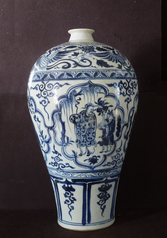 YUAN PERIOD 14TH CENTURY / BLUE & WHITE MEIPING VASE