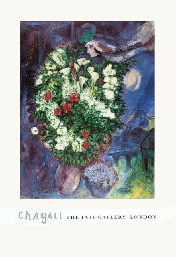 Bouquet with Flying Lovers Marc Chagall lithograph