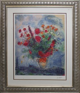 Marc Chagall Bouquet Over City Limited Edition