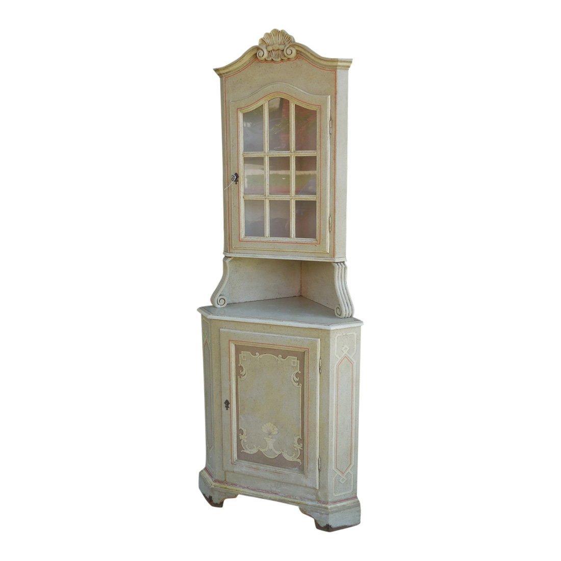 Superb Hollywood Regency Paint Decorated Corner Cabinet
