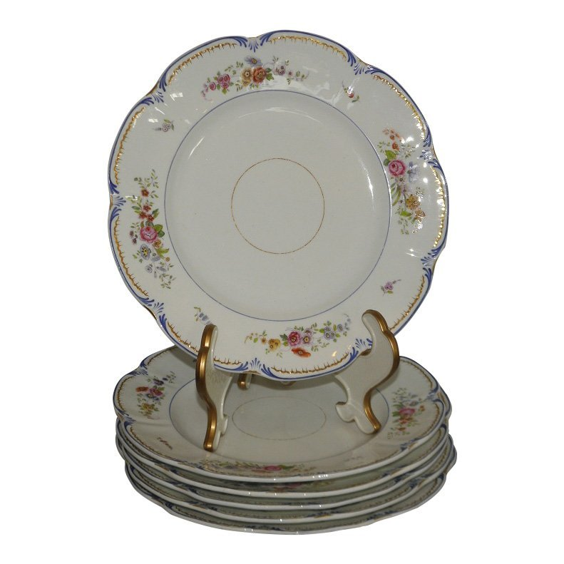 Set of 6 Early Antique English Porcelain Dinner Plates