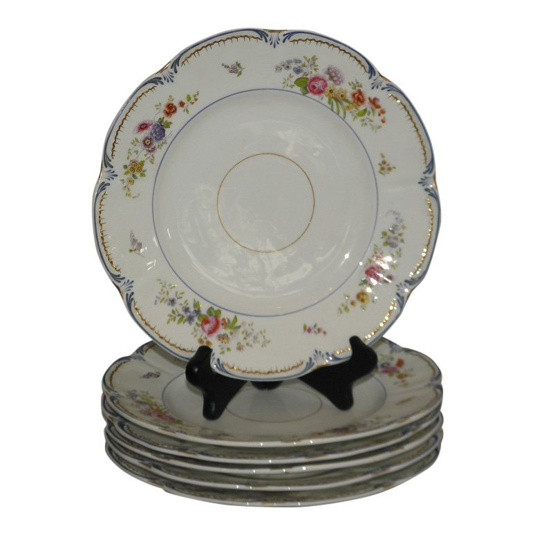Set of 6 Early Antique English Porcelain Luncheon