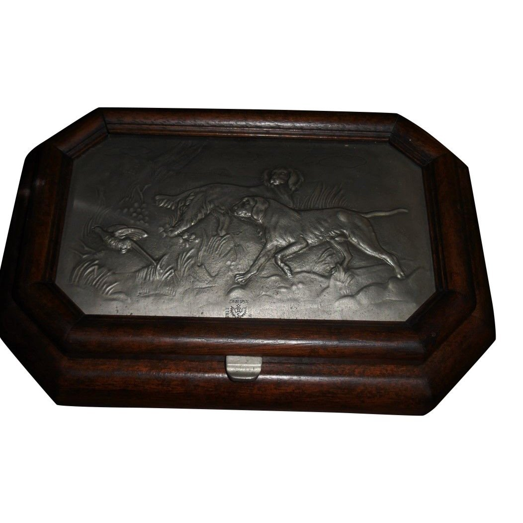 Unusual Antique Carved Wood Gentleman Box w Pewter Dog