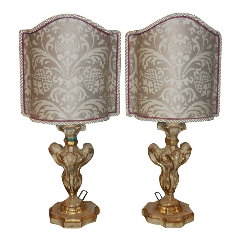 Unusual Pair of Carved Italian Mantel Lamps w Fortuny