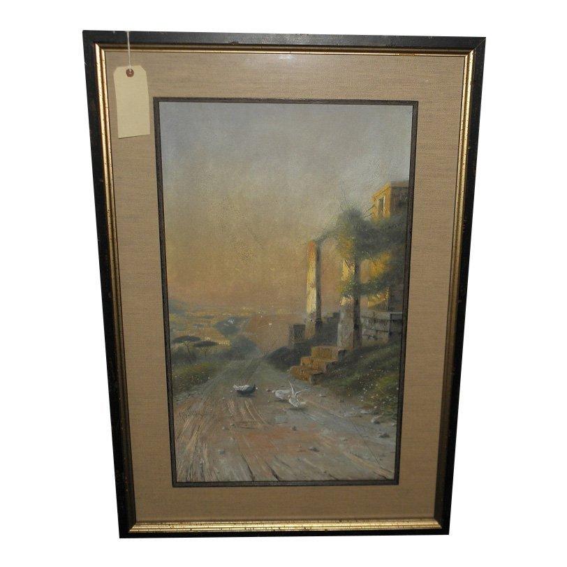 Large Antique Giovanni Battista Landscape Watercolor