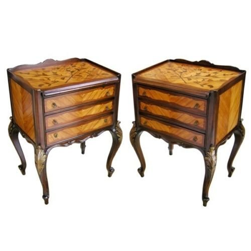 Pair of Italian Louis XV Style Carved & Inlaid Rosewood