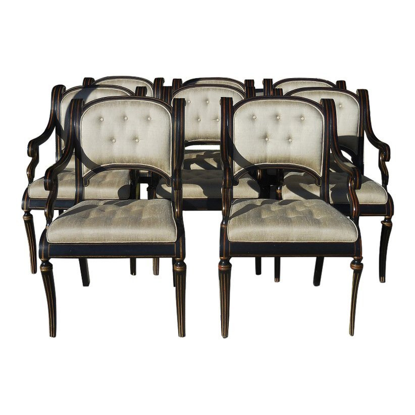 Set of 8 Kneedler Fauchere Designer Dining Arm Chairs