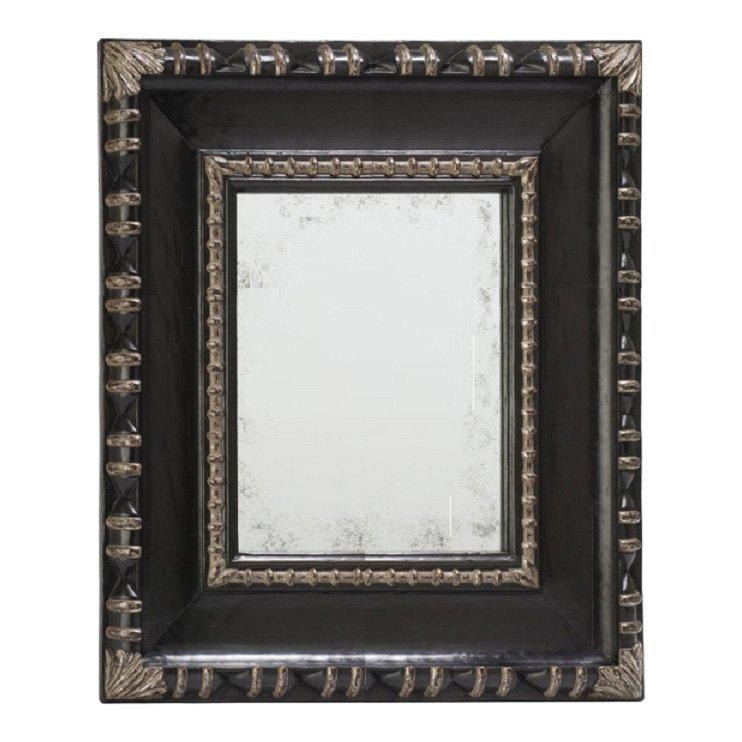 Superb Kneedler Fauchere Ebony & Silver Designer Mirror