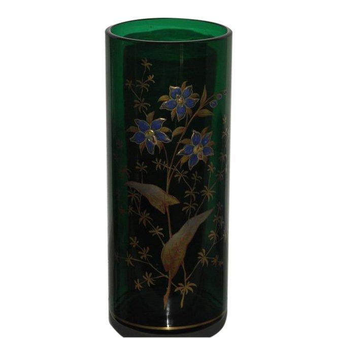 Antique Enamel Decorated Glass Vase by Mont Joye