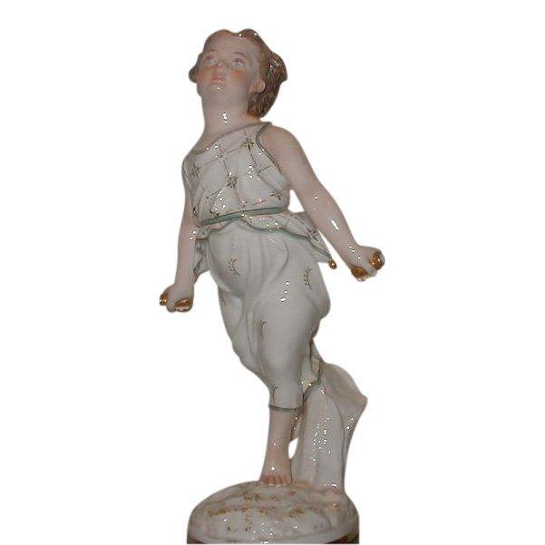 Antique Italian Porcelain Figure of Athletic Girl