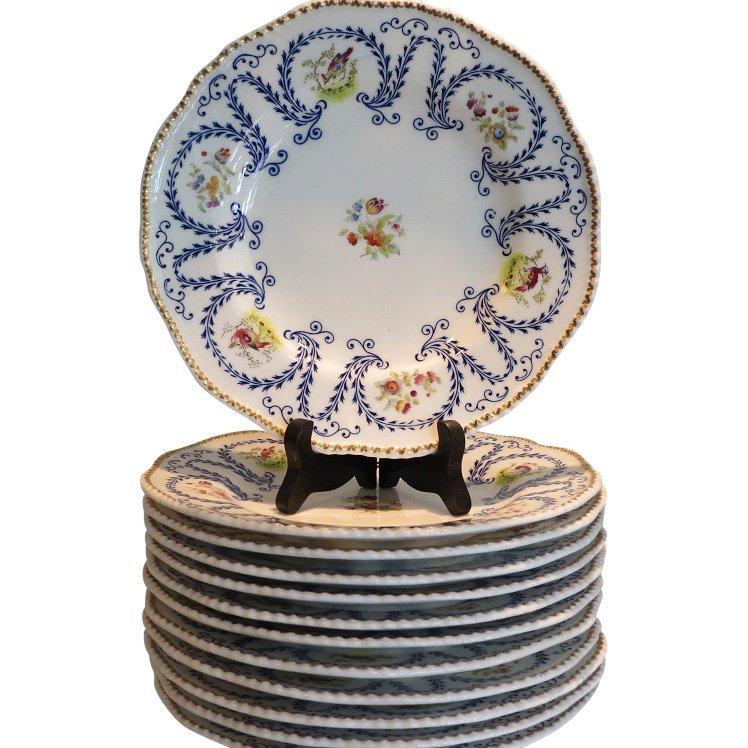 Set of 8 Antique Coalport Porcelain Plates w Hand