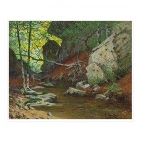 Original Antique Charles Edmond Rene-his Landscape Oil
