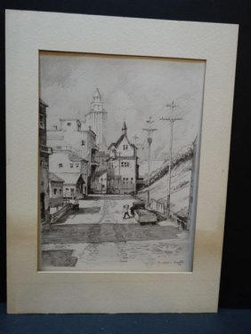 Frederic Watts: Lithograph, Los Angeles Cityscape 1936