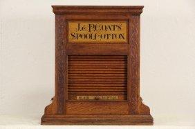 J&p Coats Oak 1890's Antique 46 Color Roll Top Spool