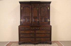 English 1900 Antique Oak Cabinet Or Linen Press, Secret