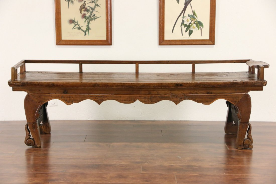 Chinese Hand Carved Elm Antique Hall Bench