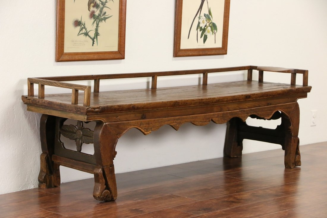 Chinese Hand Carved Elm Antique Hall Bench - 2