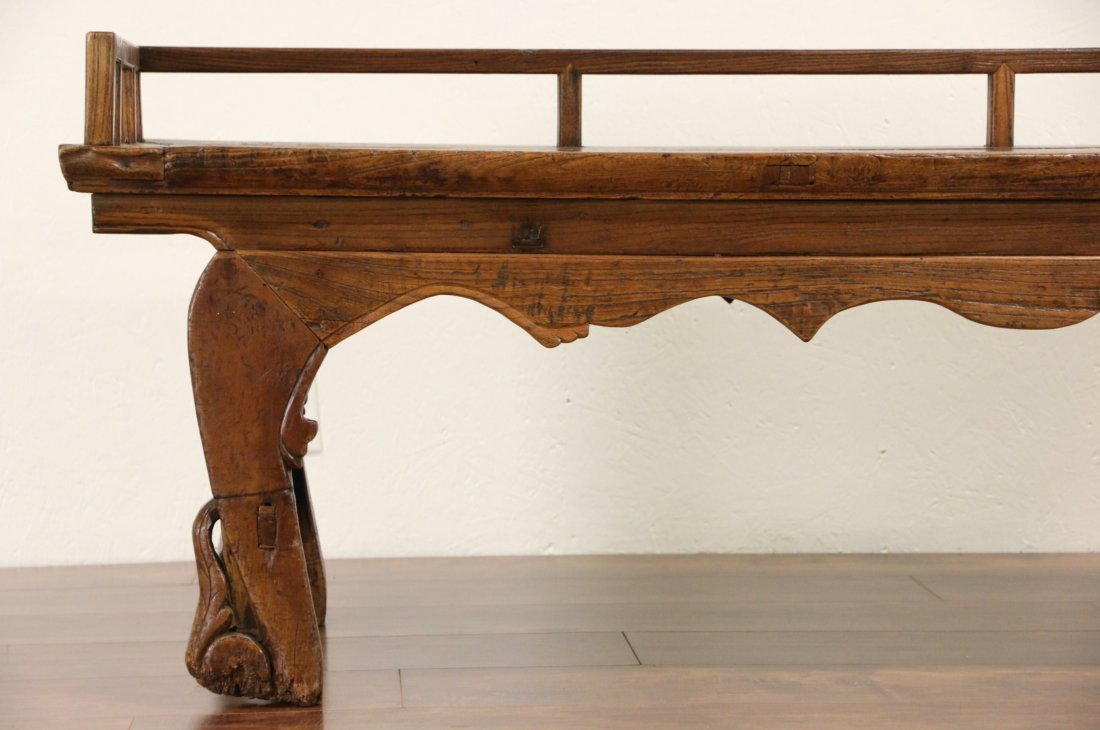 Chinese Hand Carved Elm Antique Hall Bench - 4