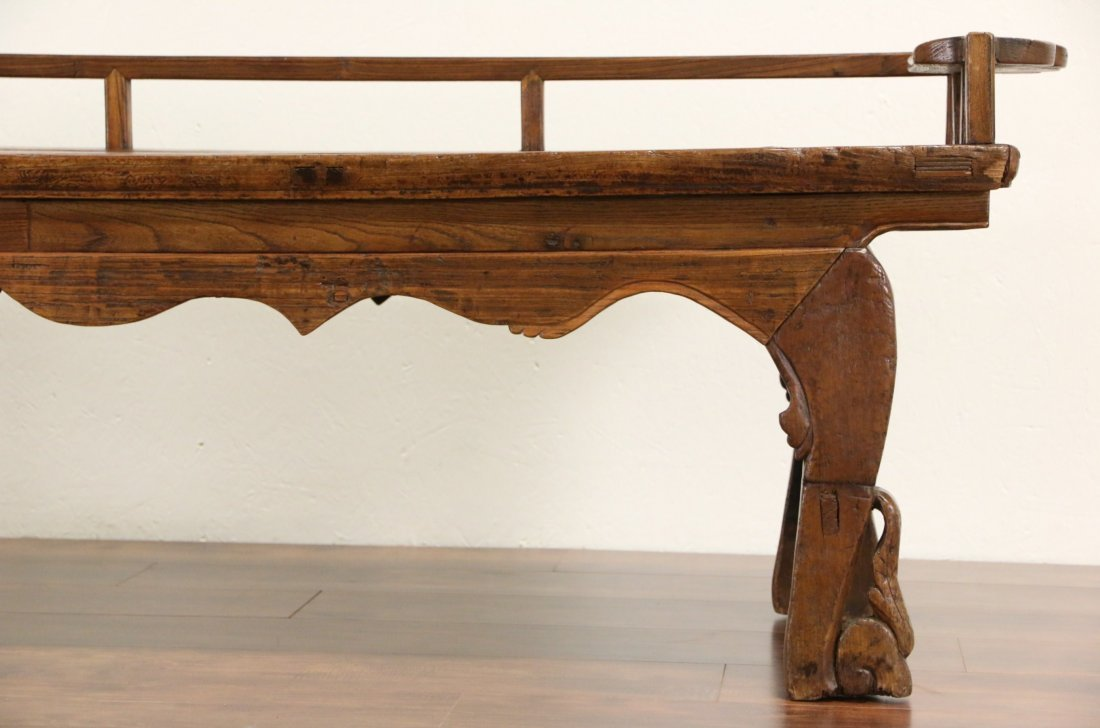 Chinese Hand Carved Elm Antique Hall Bench - 5
