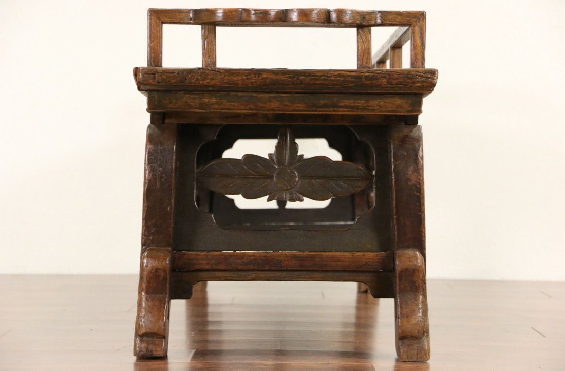 Chinese Hand Carved Elm Antique Hall Bench - 6