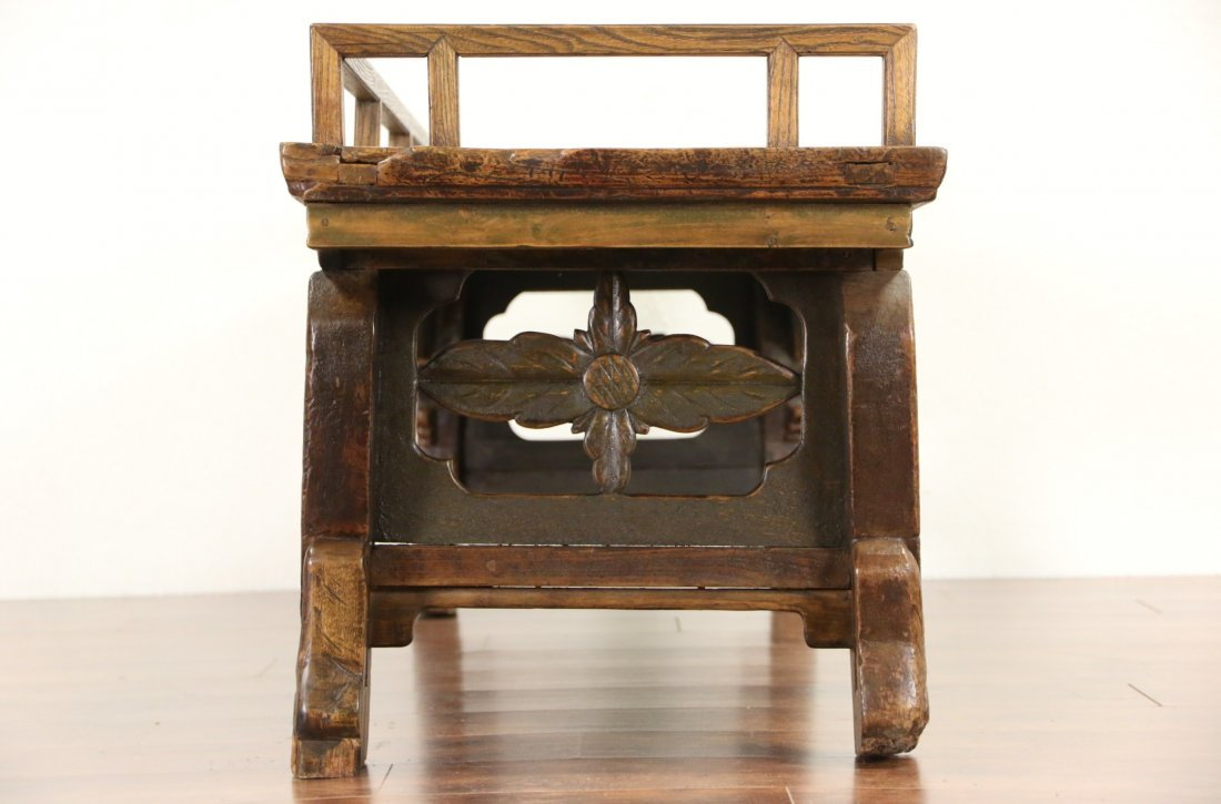 Chinese Hand Carved Elm Antique Hall Bench - 8