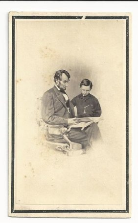 Memorial Cdv Of Abraham Lincoln Reading To His Son Tad