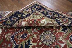 9'x12' Red/Blue Heriz Serapi Floral Hand Knotted