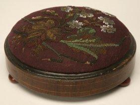 Antique English Beaded Footstool