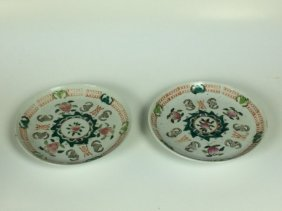 Pair Famille Rose Saucers