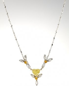 Heart Shape Yellow Diamond Necklace 18kt Gold