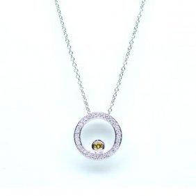 Pave And Yellow Diamond Pendent 14kt Gold