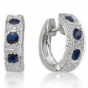 Genuine Blue Sapphire & Diamond Ear Ring
