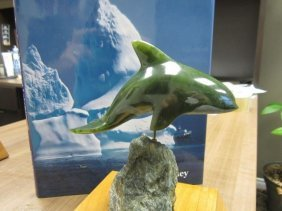 Inuit Carved Green Soapstone Killerwhale