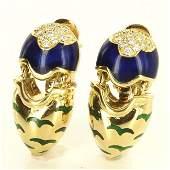18 K Yellow Gold Diamond Enamel Drop Earrings
