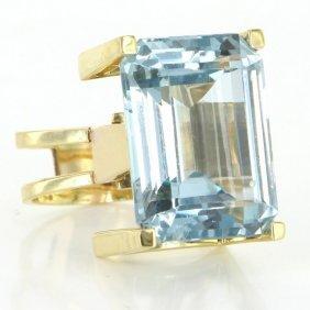 14 K Yellow Gold Aquamarine Large Cocktail Ring