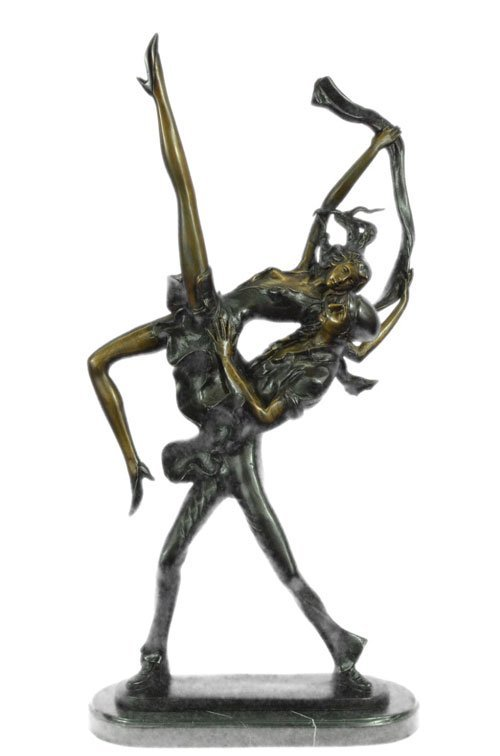 Art Abstract Nude Dancer bronze sculpture on marble