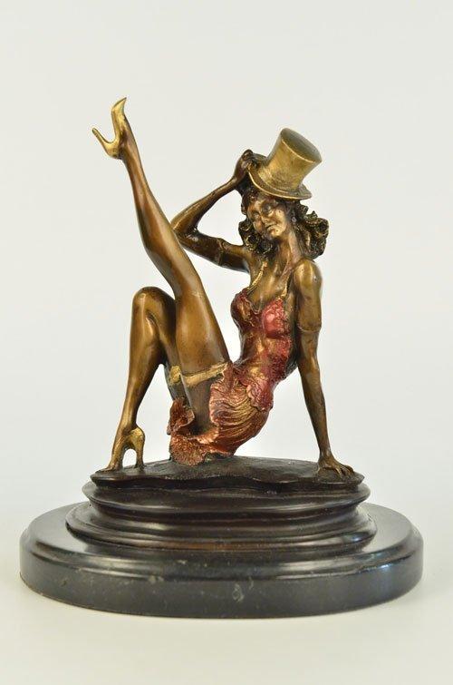 decorative color patina bronze sculpture on marble base